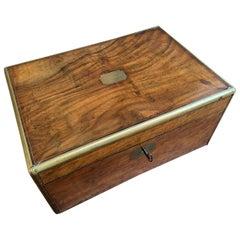 19th Century English Campaign Mahogany Writing Slope Lap Desk Box Brass
