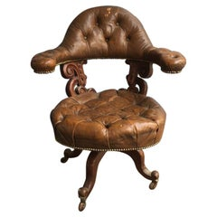 19th Century English Capitonné Leather Chair on Wheels, 1890s