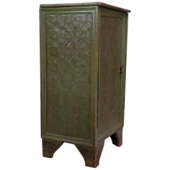 19th Century English Carved and Painted Green Pantry Cabinet / Jelly Cupboard