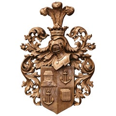 19th Century English Carved Bronze Prince of Wales Crowned Armorial Wall Plaque