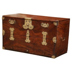 19th Century English Carved Chestnut Trunk Coffee Table with Brass Mounts