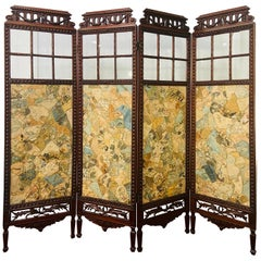 19th Century English Carved Mahogany and Glass Four-Panel Room Divider or Screen
