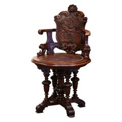 19th Century English Carved Oak and Embossed Leather Lady's Desk Armchair