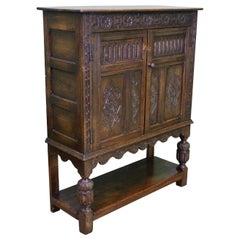 19th Century English Carved Oak Cupboard