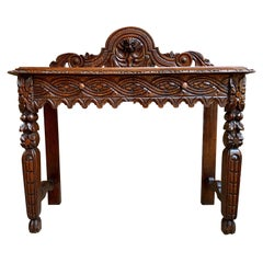 19th Century English Carved Oak Hall Foyer Sofa Table Renaissance