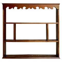 19th Century English Carved Oak Pine Plate Wall Rack Kitchen Display Shelf
