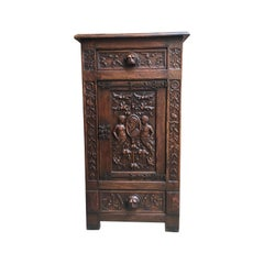 19th century English Carved Oak Renaissance Gothic Cabinet Bronze Stand Bookcase