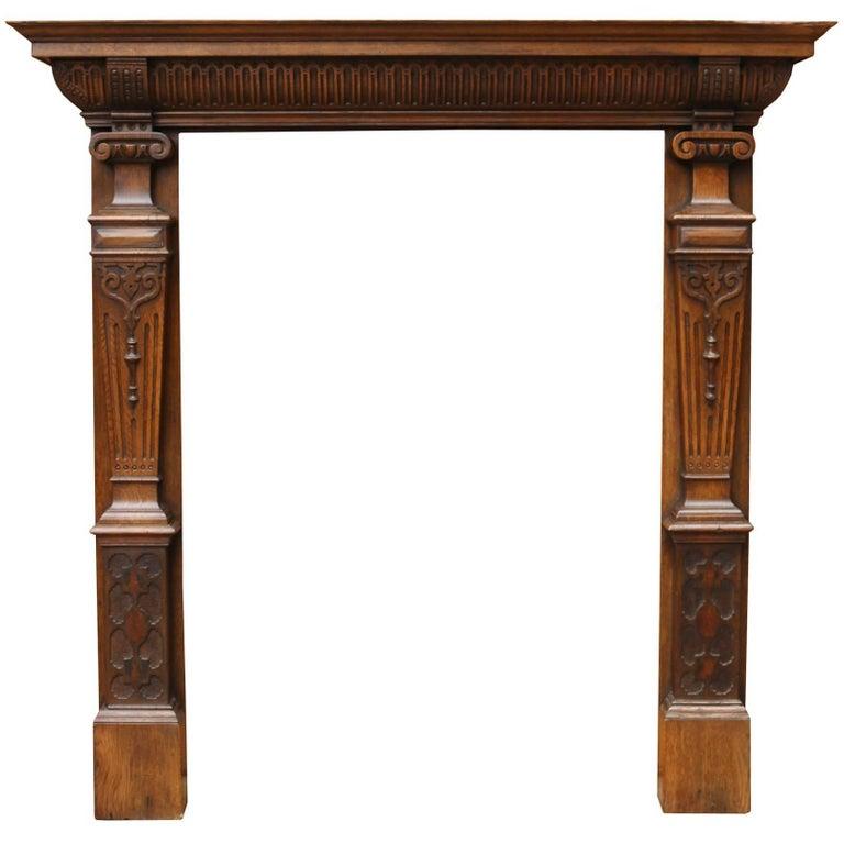 19th Century English Carved Oak Surround