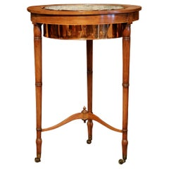 19th Century English Carved Plant Stand on Wheel with Copper Bowl and Zinc Liner