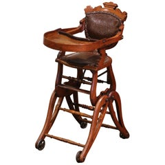 19th Century English Carved Walnut and Leather Adjustable High Chair Rocker