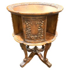 19th Century English Carved Walnut Revolving Book Table