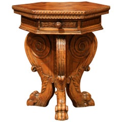 19th Century English Carved Walnut Side Table with Drawers and Hexagonal Top