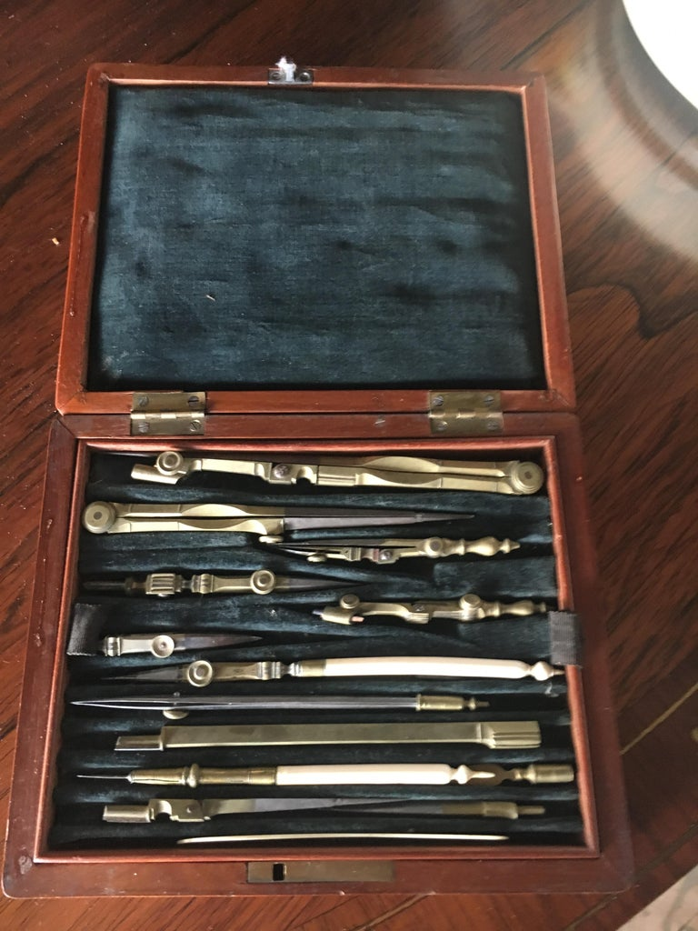 Brass 19th Century English Cased Drawing Set Length of Longest Tool For Sale