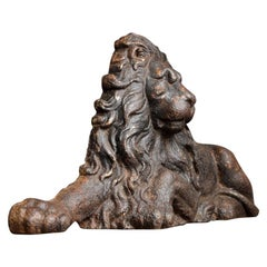 19th Century English Cast Iron Lion Door Stop Fire Guard