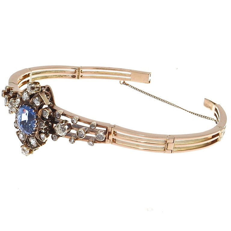 Victorian 19th Century English Certified Ceylon No Heat Sapphire Diamond 14k Gold Bangle For Sale