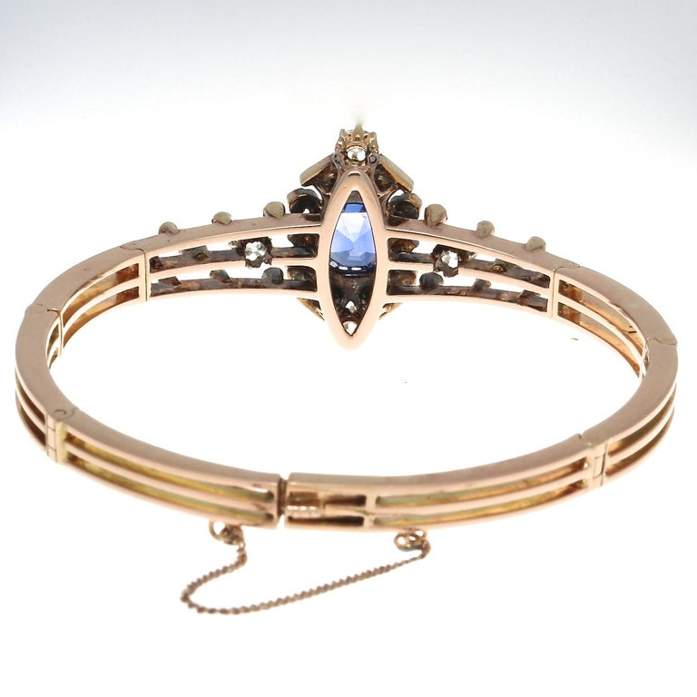 19th Century English Certified Ceylon No Heat Sapphire Diamond 14k Gold Bangle In Good Condition For Sale In Beverly Hills, CA