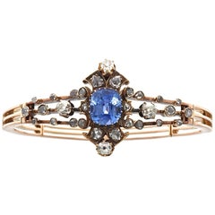 19th Century English Certified Ceylon No Heat Sapphire Diamond 14k Gold Bangle