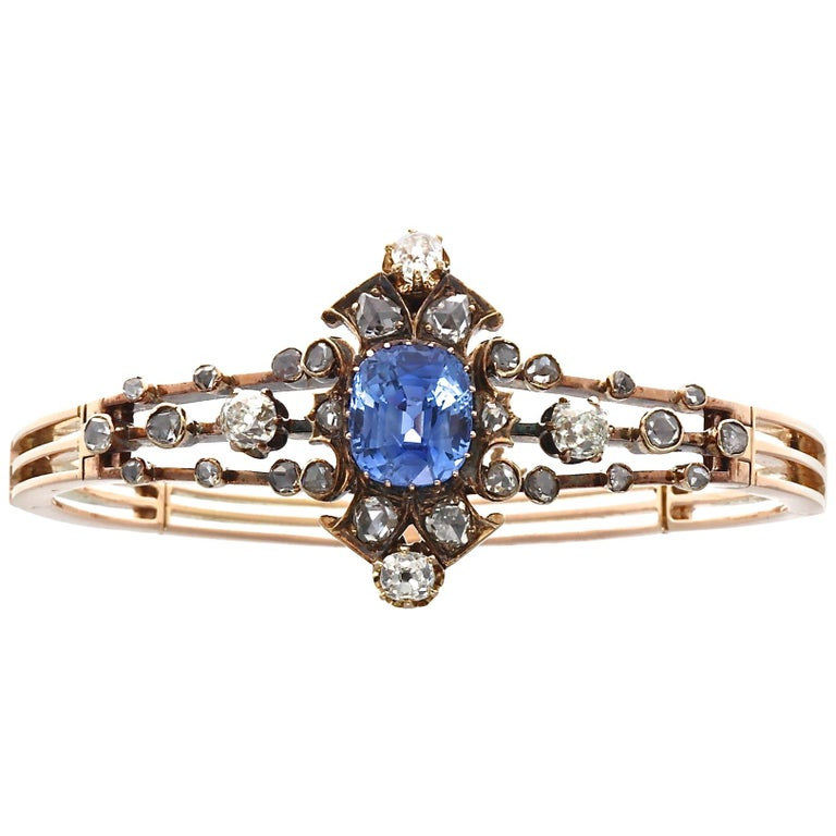 19th Century English Certified Ceylon No Heat Sapphire Diamond 14k Gold Bangle For Sale