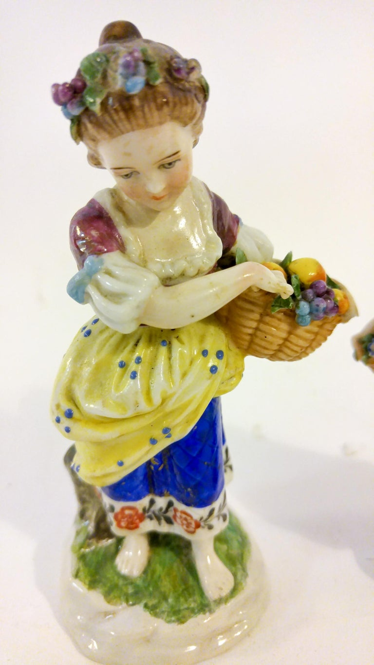 Rococo 19th Century English Chelsea Style Porcelain Figurine, Pair For Sale