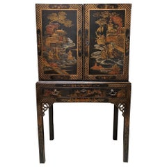 19th Century English Chest on Stand with a Black and Gold Lacquered Finish