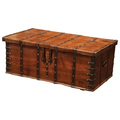 19th Century English Chestnut and Wrought Iron Coffee Table Trunk