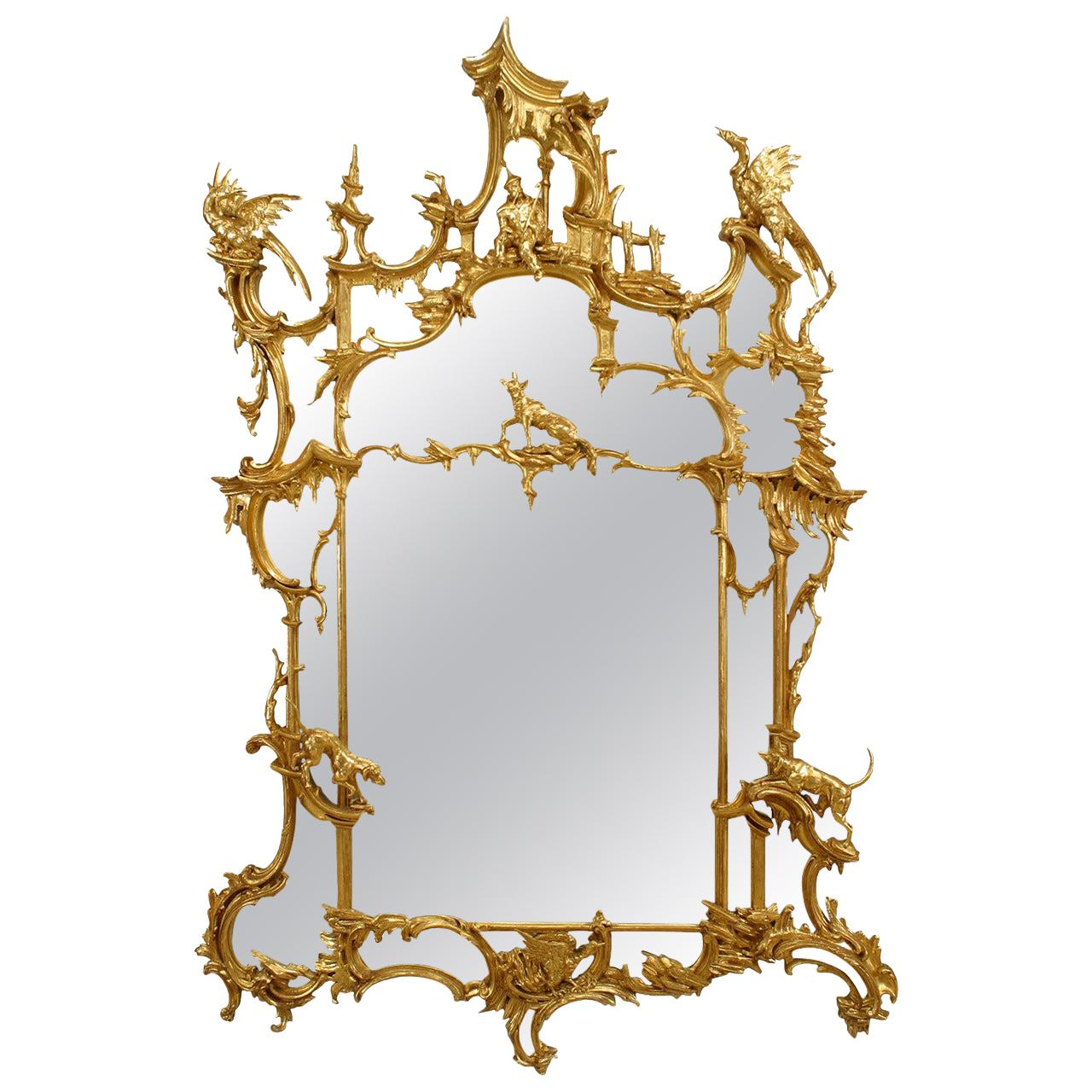 19th Century English Chinese Chippendale Style Mirror After a Design by Johnson
