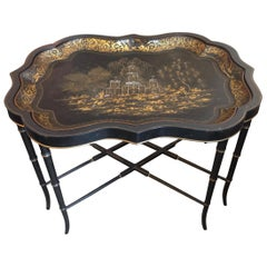 19th Century English Chinoiserie Abalone and Gilt Papier Mâché Tray on Stand
