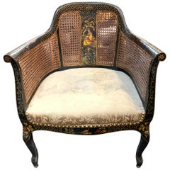 19th Century English Chinoiserie and Cane Armchair
