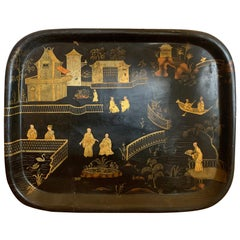 19th Century English Chinoiserie Black and Gilt Rectangular Tole Tray