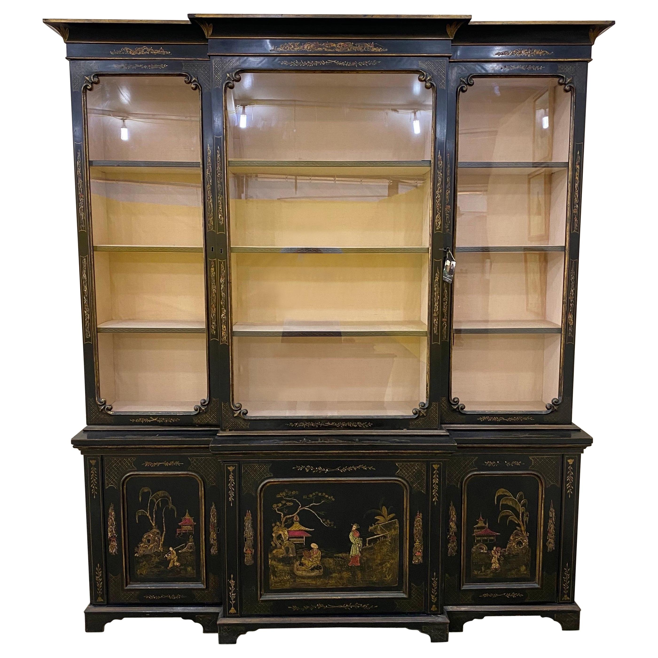 19th Century English Chinoiserie Breakfront China Cabinet or Bookcase