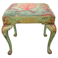 19th Century English Chinoiserie Painted Stool