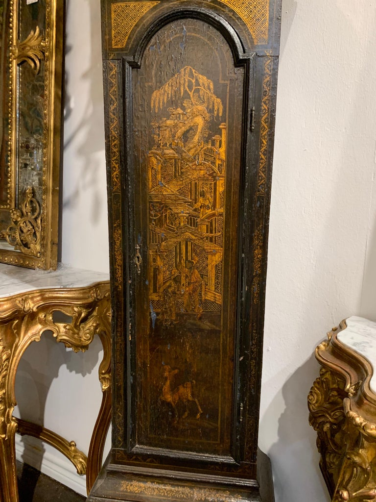 Painted 19th Century English Chinoiserie Tall Case Clock For Sale