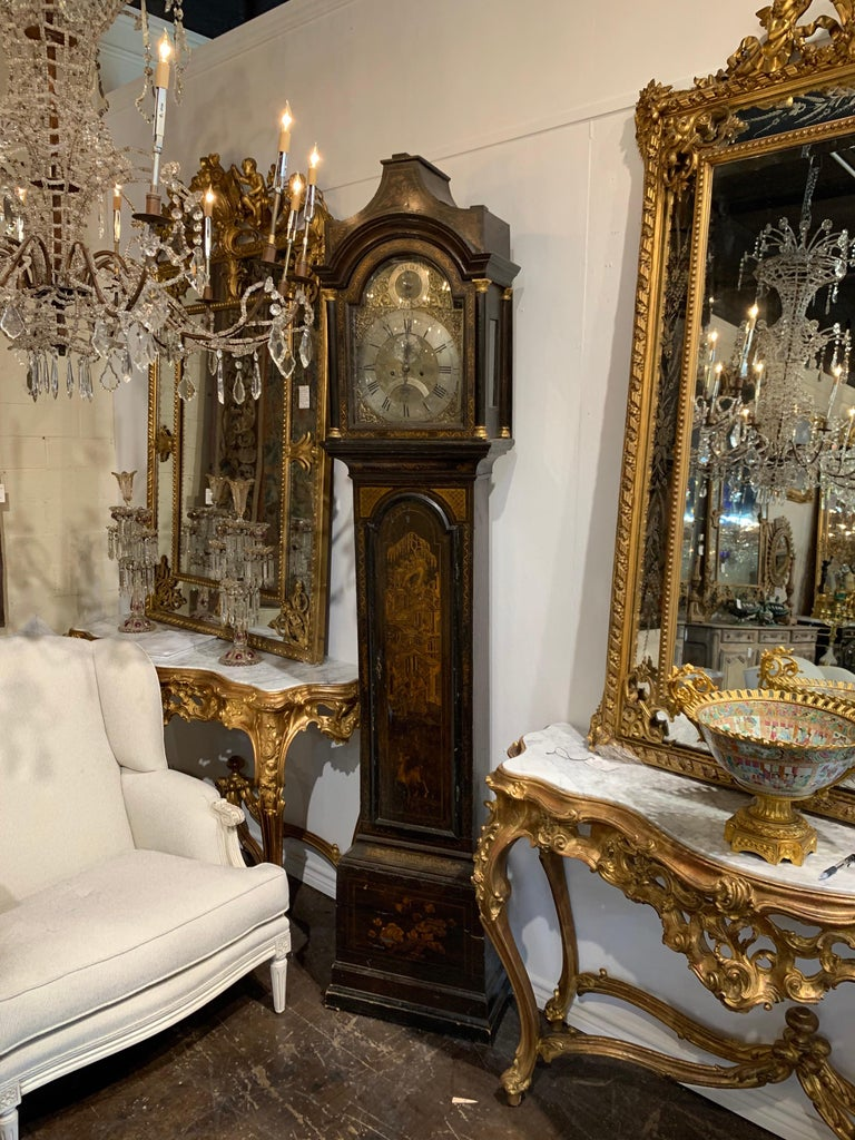 19th Century English Chinoiserie Tall Case Clock For Sale 1