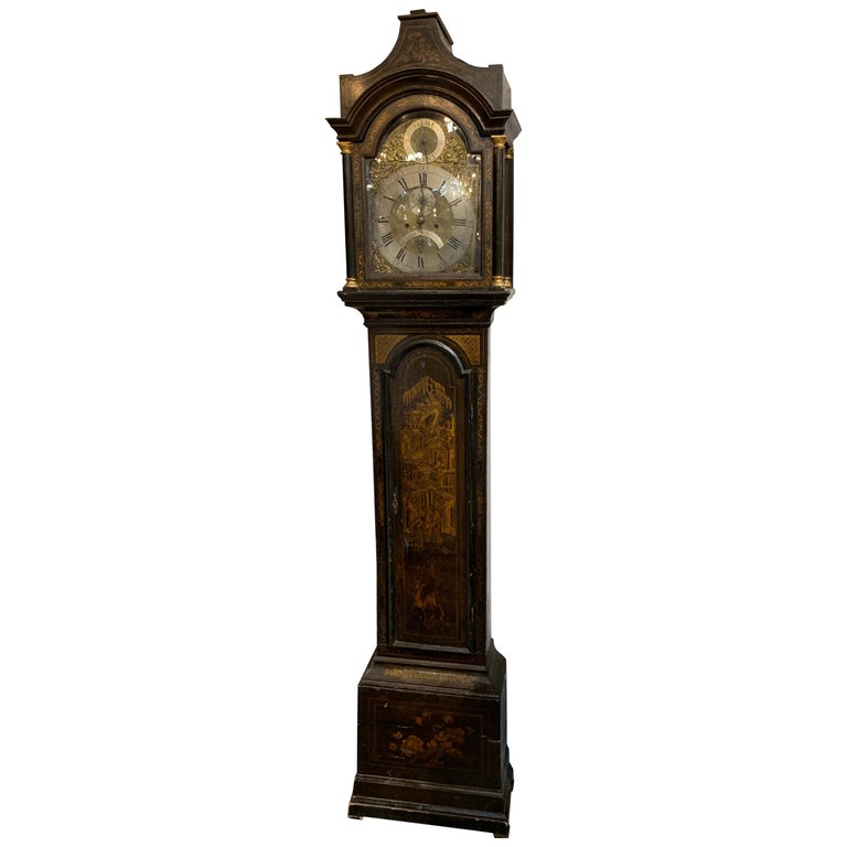 19th Century English Chinoiserie Tall Case Clock For Sale