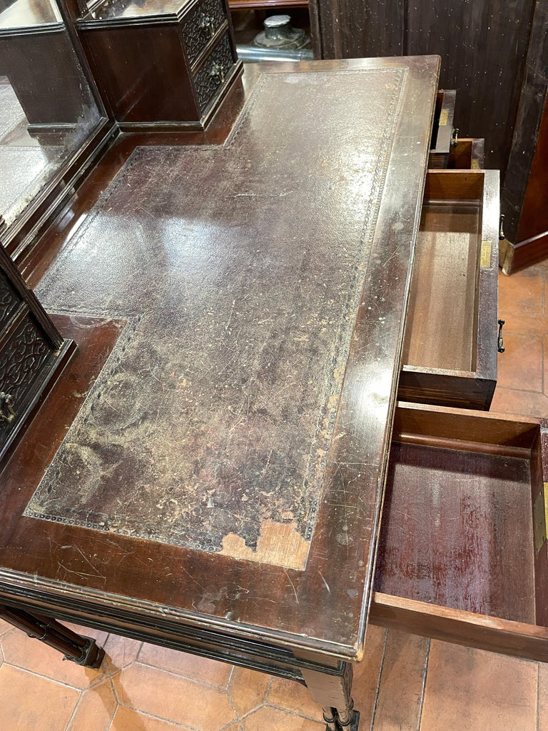 19th Century English Chinoiserie Victorian Mahogany Desk Edwards & Roberts, 1880 For Sale 7