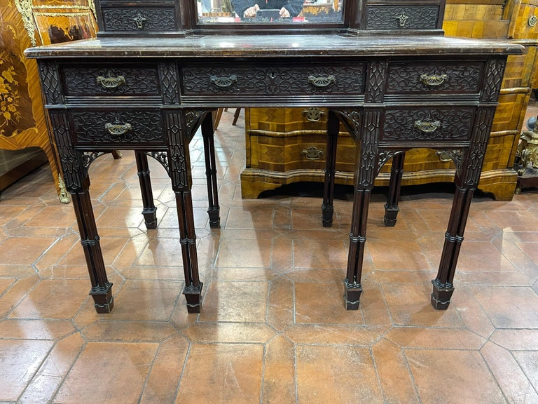 19th Century English Chinoiserie Victorian Mahogany Desk Edwards & Roberts, 1880 For Sale 8