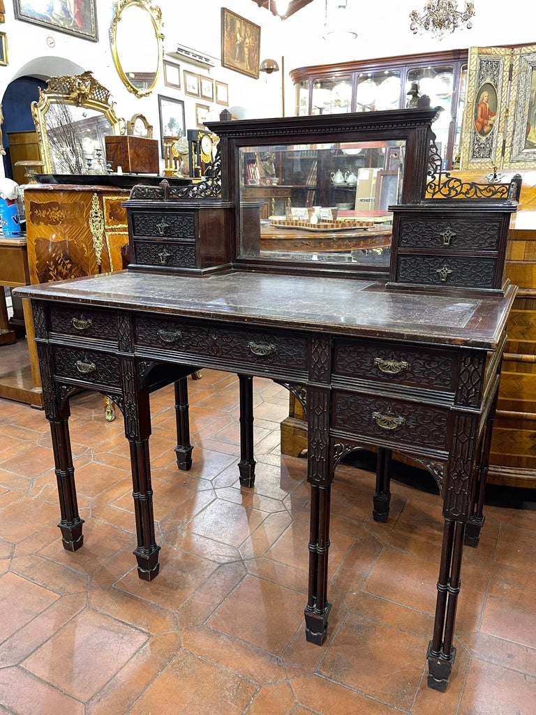 Late Victorian 19th Century English Chinoiserie Victorian Mahogany Desk Edwards & Roberts, 1880 For Sale