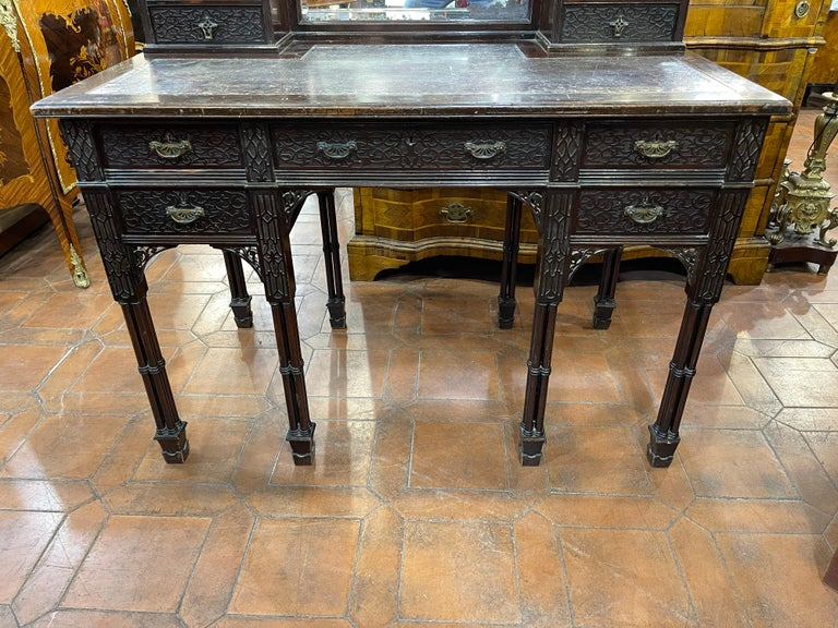 Carved 19th Century English Chinoiserie Victorian Mahogany Desk Edwards & Roberts, 1880 For Sale