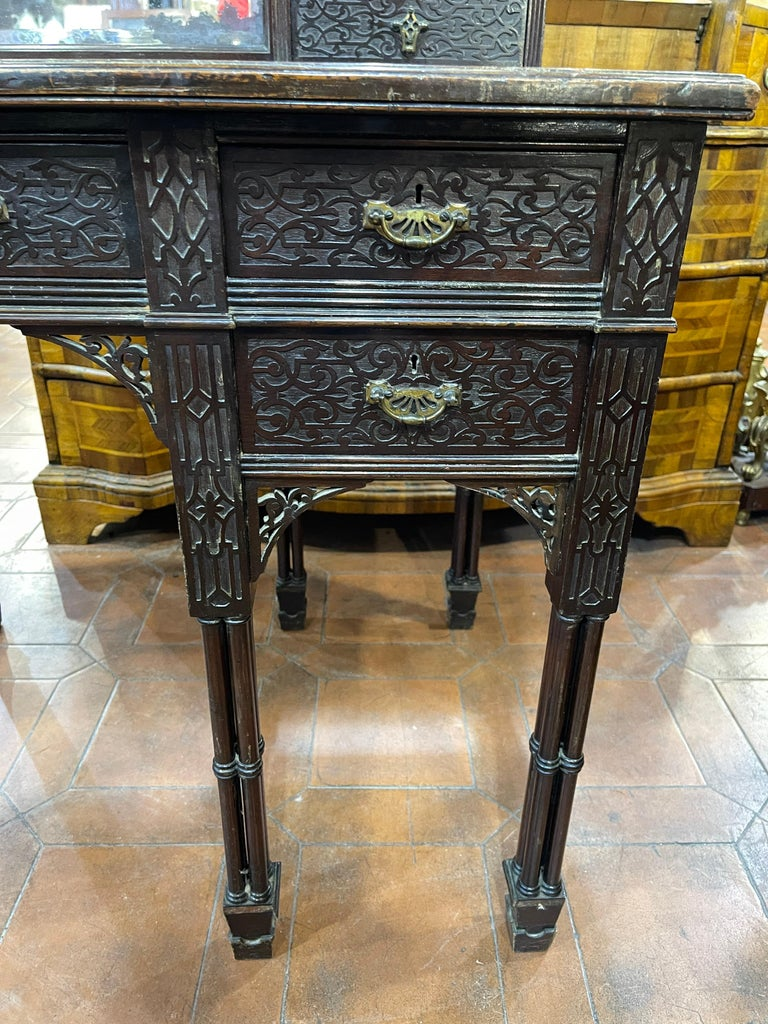 19th Century English Chinoiserie Victorian Mahogany Desk Edwards & Roberts, 1880 For Sale 1