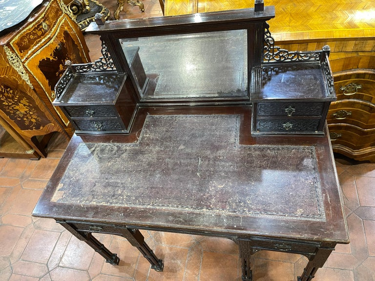 19th Century English Chinoiserie Victorian Mahogany Desk Edwards & Roberts, 1880 For Sale 2