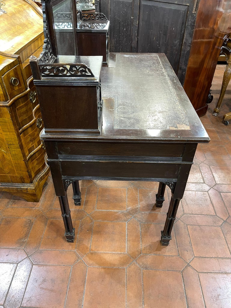 19th Century English Chinoiserie Victorian Mahogany Desk Edwards & Roberts, 1880 For Sale 3