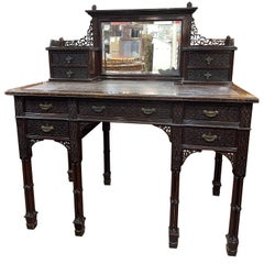19th Century English Chinoiserie Victorian Mahogany Desk Edwards & Roberts, 1880