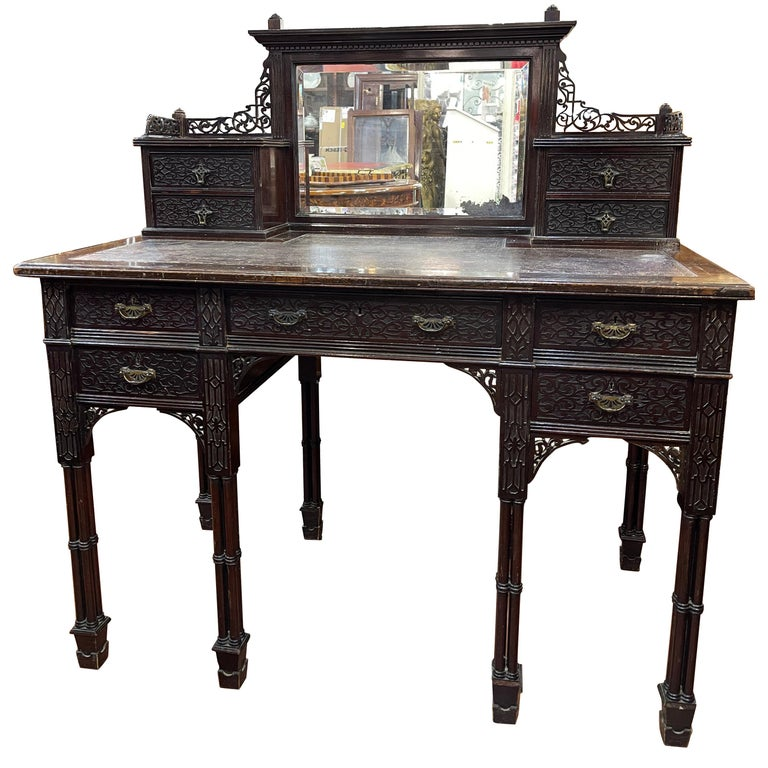 19th Century English Chinoiserie Victorian Mahogany Desk Edwards & Roberts, 1880 For Sale