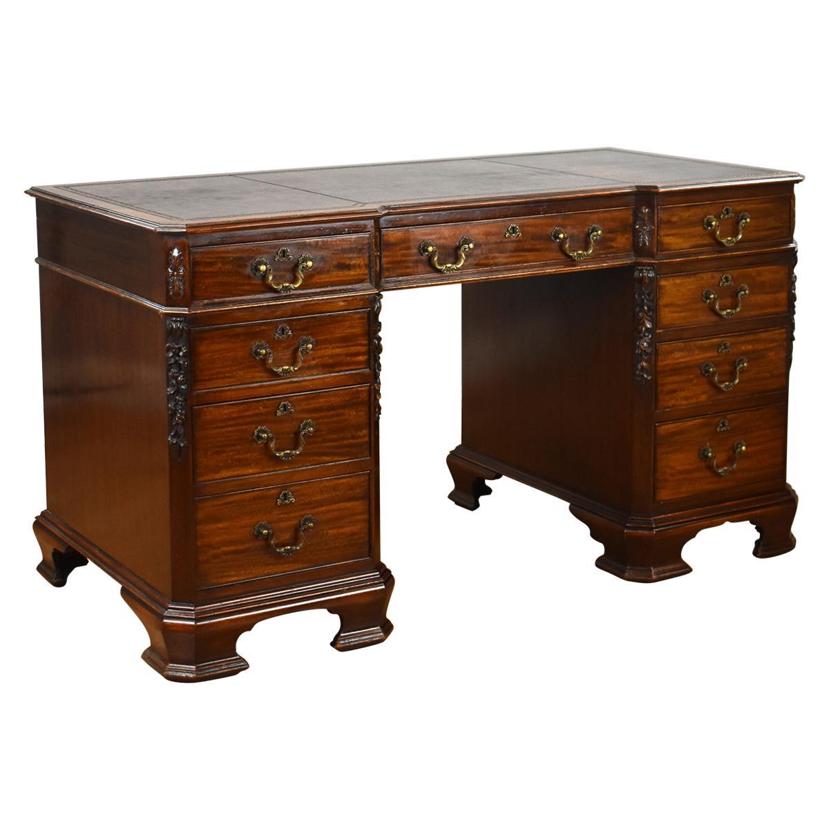 19th Century English Chippendale Style Pedestal Desk