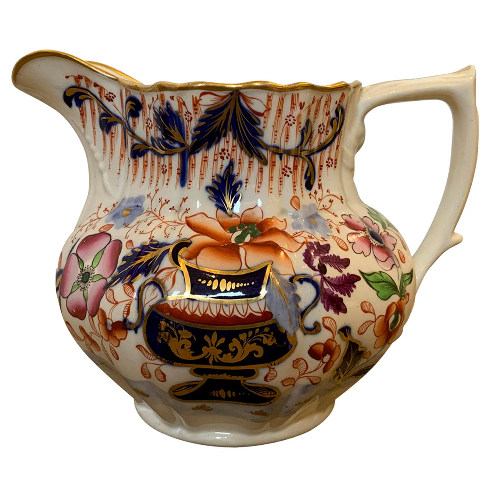19th Century English Cobalt Blue and Orange Porcelain Pitcher with Gilt Details
