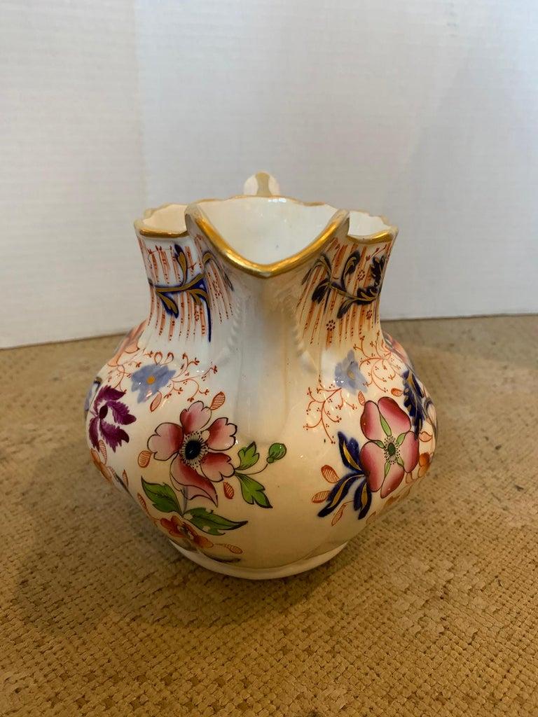 19th Century English Cobalt Blue and Orange Porcelain Pitcher with Gilt Details For Sale 7