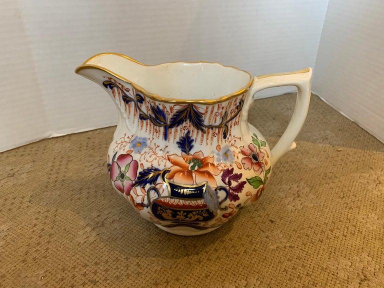 Ceramic 19th Century English Cobalt Blue and Orange Porcelain Pitcher with Gilt Details For Sale