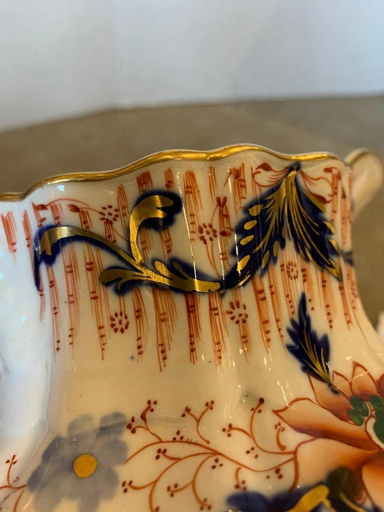 19th Century English Cobalt Blue and Orange Porcelain Pitcher with Gilt Details For Sale 5