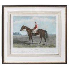 19th Century English Colored Engraving, Sefton the Racehorse & Henry Constable