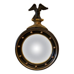 19th Century English Convex Mirror with Eagle Finial